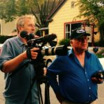 Greg Davis and John de Graaf on set in Nevada City