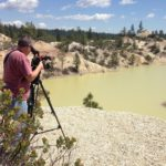 Filming waste ponds left over from the Gold Rush